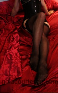 New Orleans Elite Escort Annie Calhoun : Description - A woman's legs on red satin sheets.  She is wearing black thigh-high stockings with lace.