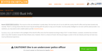 "Screenshot of BustedEscorts.com: ""CAUTION: She is an undercover police officer"" (followed by paid link to site with ""legal"" escorts)"