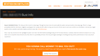 "BustedEscorts.com screenshot: ""YOU GONNA CALL MOMMY TO BAIL YOU OUT?"" (followed by big paid link to ""safe"" escort site)"